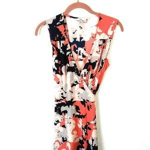 H Halston   Floral wrap dress size small